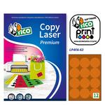 Etichetta adesiva LP4F Tico - arancio fluo - tonda ø 63.5 mm - 12 etichette per foglio - conf. 70 fogli A4