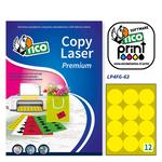 Etichetta adesiva LP4F - permanente - tonda ø 63,5 mm - 12 etichette per foglio - giallo fluo - Tico - conf. 70 fogli A4