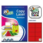Etichetta adesiva LP4F - permanente - 99,1x67,7 mm - 8 etichette per foglio - rosso fluo - Tico - conf. 70 fogli A4