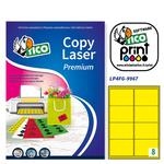 Etichetta adesiva LP4F - permanente - 99,1x67,7 mm - 8 etichette per foglio - giallo fluo - Tico - conf. 70 fogli A4