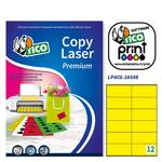 Etichetta adesiva LP4C - permanente - 105x48 mm - 12 etichette per foglio - giallo opaco - Tico - conf. 70 fogli A4