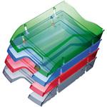 Vaschetta portacorrispondenza - plastica riciclata - 35,5x27,5x6,6 cm - blu trasparente - Helit