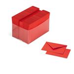 Scatola 100 cartoncini (200gr) + 100 buste (90gr) - rosso - formato 4 - Favini