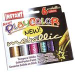 Scatola 6 tempera solida in stick - 10gr - colori metal - Playcolor