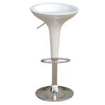 Sgabello bar - ABS/acciaio cromato - 35x45x55/78 cm - bianco - Serena Group