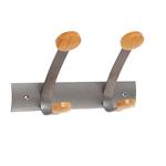 Appendiabiti da muro - 30x11,2x17,5 cm - 2 posti - metallo/legno - grigio metallo e legno chiaro - Alba