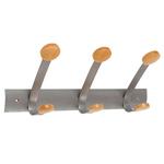 Appendiabiti da muro - 45x11,2x17,5 cm - 3 posti - metallo/legno - grigio metallo e legno chiaro - Alba