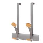Appendiabiti da porta - 30x11x36,8 cm - 2 posti - metallo/legno - grigio metallo/legno chiaro - Alba