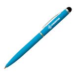 Penna mini a sfera con cappuccio Piu\ Touch - azzurro gommato - Osama