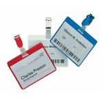 Portanome a tasca aperta - clip in plastica - rosso - 6x9 cm - Durable - conf. 25 pezzi