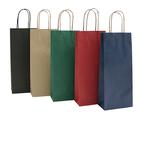 Portabottiglie in carta - maniglie cordino - 14 x 9 x 38cm - verde - conf. 20 sacchetti