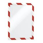 Cornice adesiva Duraframe® Security A4 - pannello magnetico - 21x29.7 cm - rosso/bianco - Durable
