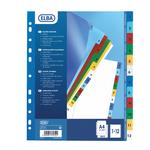Separatore numerico 1/12 Elba - tacche colorate - PPL - A4 - colori assortiti - Favorit