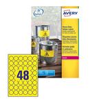 Poliestere adesivo l6128 giallo fluo 20fg A4 ø30mm (48et/fg) laser avery