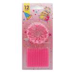 Candeline compleanno con supporto - rosa - Pegaso - blister 12 candeline
