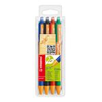 Penna a sfera a scatto Pointball Green - tratto 0,5mm - 4 colori - Stabilo - conf. 4 pezzi