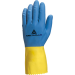 Guanto da lavoro industriale Duocolor 330 - lattice floccato cotone - taglia 09/10 - blu/giallo - Deltaplus