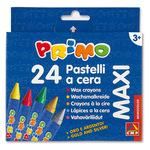 Pastelli a cera jumbo - ø10,5mm - 100mm - colori assortiti - Primo - Conf. astuccio 24 colori