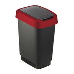 Pattumiera con coperchio basculante - PPL - 25 lt - nero/rosso - Rotho