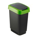 Pattumiera con coperchio basculante - PPL - 25 lt - nero/verde - Rotho