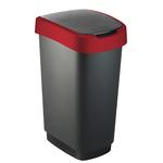 Pattumiera con coperchio basculante - PPL - 50 lt - nero/rosso - Rotho