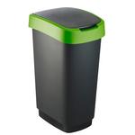 Pattumiera con coperchio basculante - PPL - 50 lt - nero/verde - Rotho