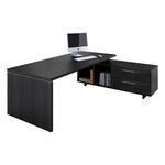 Scrivania Manager Prestige - 180x90cm - con mobile servizio reversibile - nero venato - Artexport