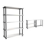 Scaffale MPShelf - PPL/metallo - 5 ripiani - 100x45 cm - grigio/nero - Terry