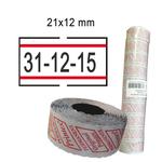 Rotolo da 1000 etichette per Printex Smart - 21x12 mm - adesivo removibile - bianco con righe rosse - Pack 10 rotoli