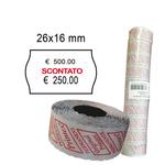 Rotolo da 1000 etichette a onda per Printex Smart 16/2616 - SCONTATO - 26x16 mm - adesivo permanente - bianco - Pack 10 rotoli