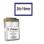 Rotolo da 600 etichette per Printex Z 17 - 26x19 mm - adesivo removibile - bianco - cornice blu - Printex - pack 10 rotoli