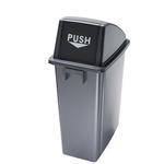 Contenitore Office - con coperchio push - per rifiuto secco - 33x46x79 cm - 60 L - grigio/nero - Medial International