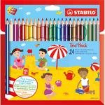 Matite colorate Stabilo Trio Maxi - mina 4,2mm - Stabilo - astuccio 24 colori con temperino