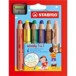 Pastelli colorati Woody 3in1 - mina 10mm - con temperino - Stabilo - Astuccio 6 pastelli