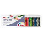 Pastelli per tessuto Fabric Fun - 15 colori assortiti - Pentel - astuccio 15 pastelli