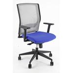 Poltrona semidirezionale X2 - con ruote e braccioli - schienale rete grigia/seduta blu - Unisit