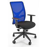 Sedia operativa PNA - con ruote e braccioli - schienale in rete blu/seduta nero - Unisit