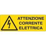 Cartello segnalatore -  35x12,5 cm ATTENZIONE CORRENTE ELETTRICA - alluminio - Cartelli Segnalatori