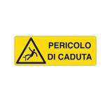 Cartello segnalatore - 35x12,5 cm - PERICOLO DI CADUTA - alluminio - Cartelli Segnalatori