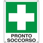 Cartello segnalatore - 12x14,5 cm - PRONTO SOCCORSO - alluminio - Cartelli Segnalatori