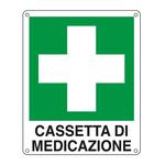 Cartello segnalatore - 16x21 cm - CASSETTA DI MEDICAZIONE - alluminio - Cartelli Segnalatori