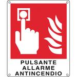 Cartello segnalatore - 12x14,5 cm - PULSANTE ALLARME ANTINCENDIO - alluminio - Cartelli Segnalatori