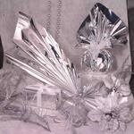 Buste regalo in PPL - metal lucido - argento - 35 x 50 + 5cm - con patella adesiva - PNP - conf. 50 buste