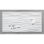 Lavagna magnetica in vetro artverum® - 460x910x15 mm - texture onde bianche - Sigel