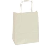 Shopper in carta - maniglie cordino - 18 x 8 x 24cm - avorio - conf. 25 sacchetti