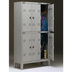 Armadio metallo - spogliatoio - 6 posti - 102x35x180 cm - grigio - Tecnical 2