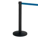 Colonnina segnapercorso Alfa nera - altezza 95 cm - nastro retrattile blu da 200 cm - Medial International