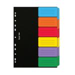 Separatore Dox - 6 tasti neutri colorati - cartoncino 240 gr - A4 - multicolore - Rexel