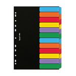 Separatore Dox - 12 tasti neutri colorati - cartoncino 240 gr - A4 - multicolore - Esselte Dox