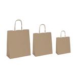 Shopper in carta - maniglie cordino - 18 x 8 x 24cm - avana - conf. 25 sacchetti